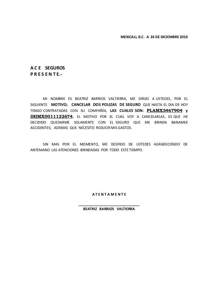 Cancelacion Polizas Seguro Banamex Dic 2010