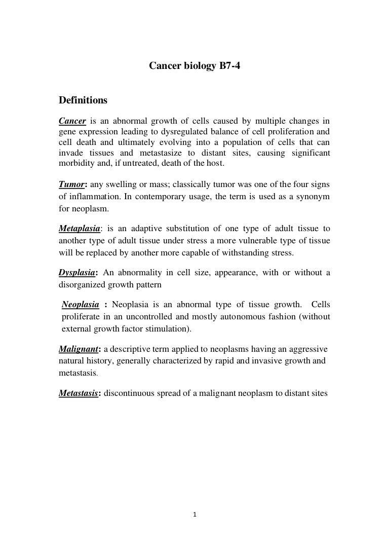 cancer biology b7 4 lecures