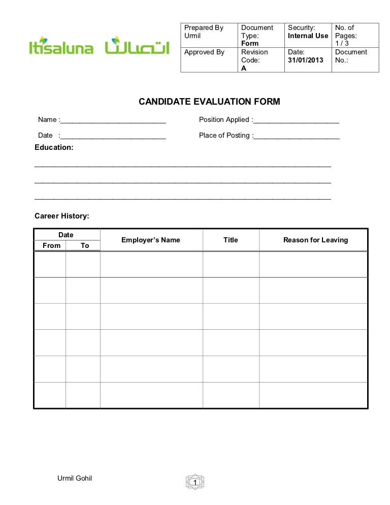Candidate Evaluation Form For Hr