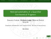 Herbrand-satisfiability of a Quantified Set-theoretical Fragment (Cantone, Longo, Nicolosi CILC2014)