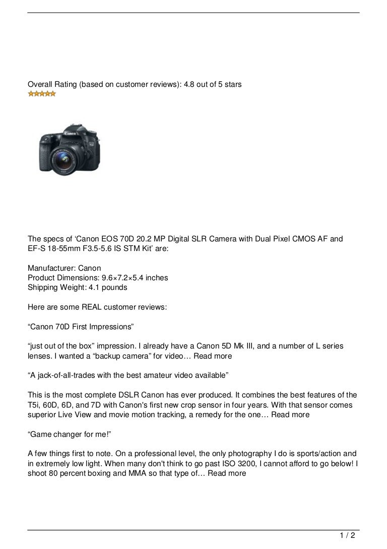 Canon EOS 70D 20 2 MP Digital SLR Camera with Dual Pixel CMOS AF and …
