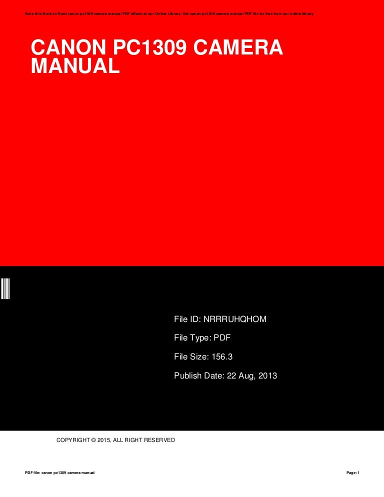 canon pc1309 camera manual rh slideshare net Owners Manual Canon Canon Camera User Manual