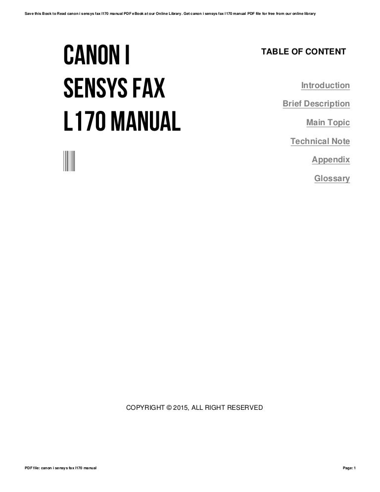 Canon i sensys fax l170 manual