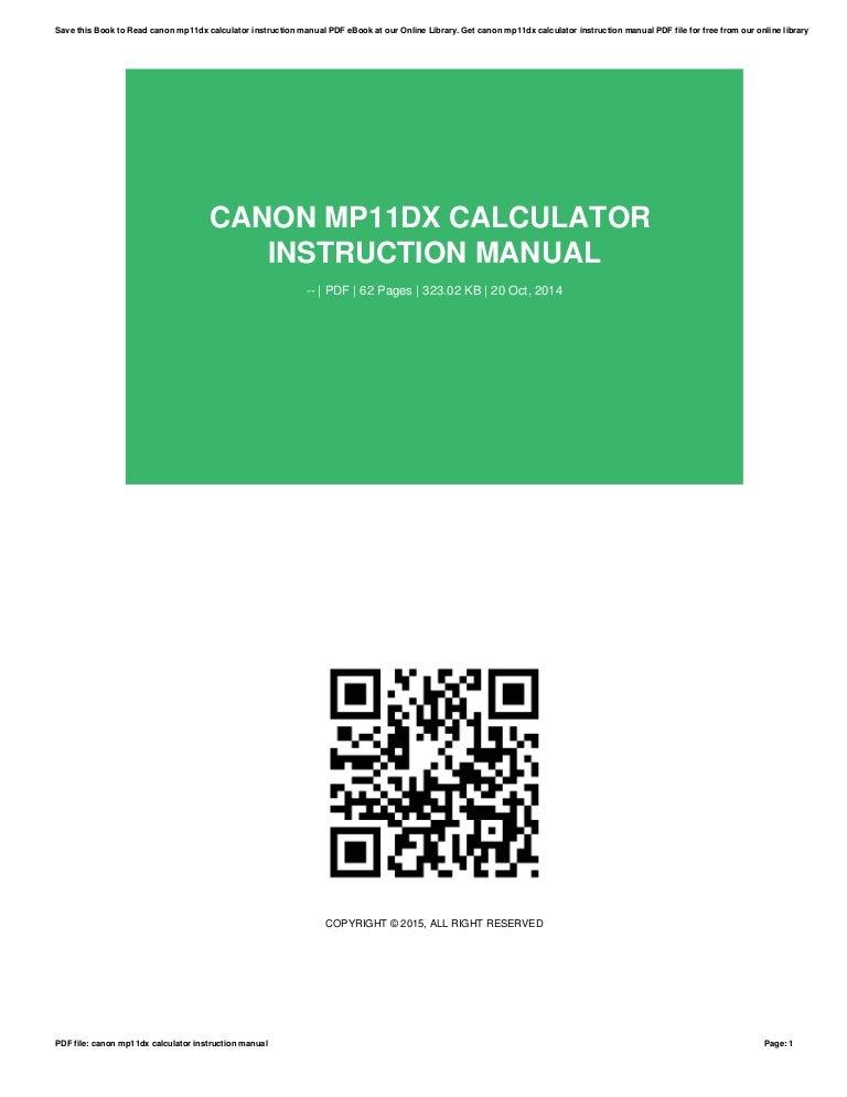 Canon Calculator User Manuals Ebook