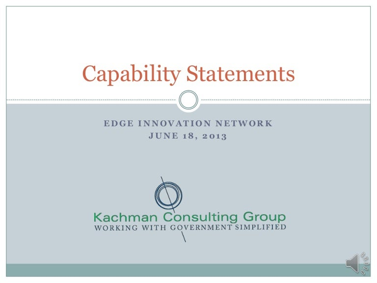The Importance Of The Capability Statement Webinar By Kachman Consult