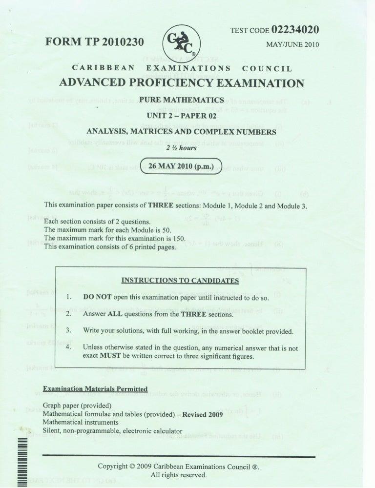 Cape Pure Math 2010 Unit 2 Paper 2