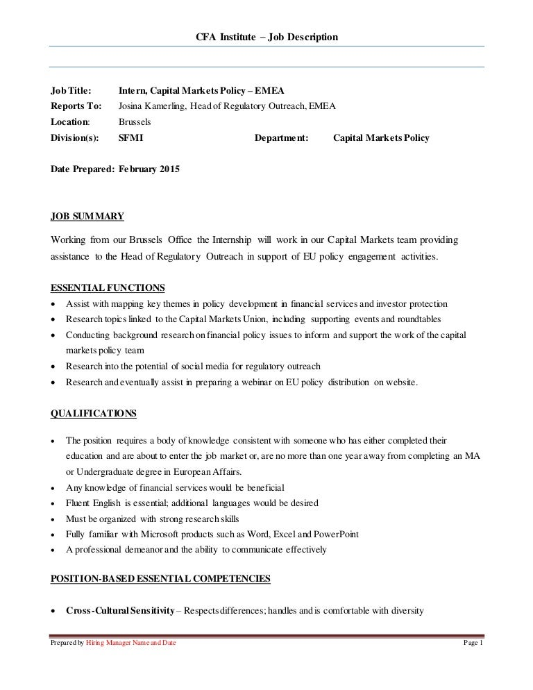 Capital Markets Intern - Job Description