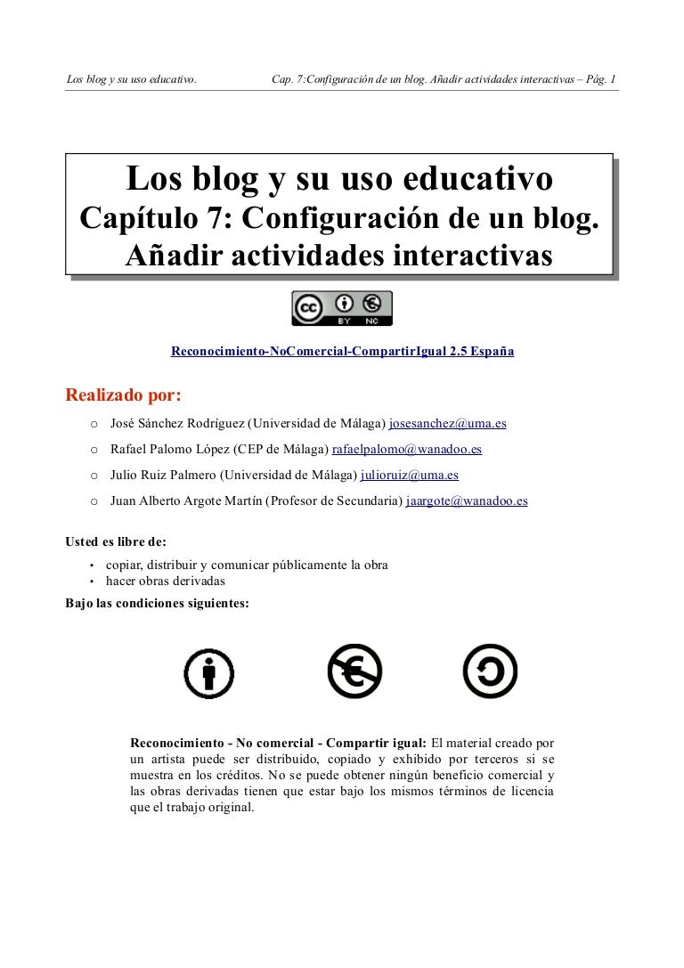 Capitulo7 Configuracion De Un Blog Anadir Actividades Interactivas