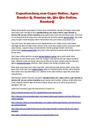 Capsabandarq.com capsa online, agen bandar q, domino 99, qiu qiu online, bandar q