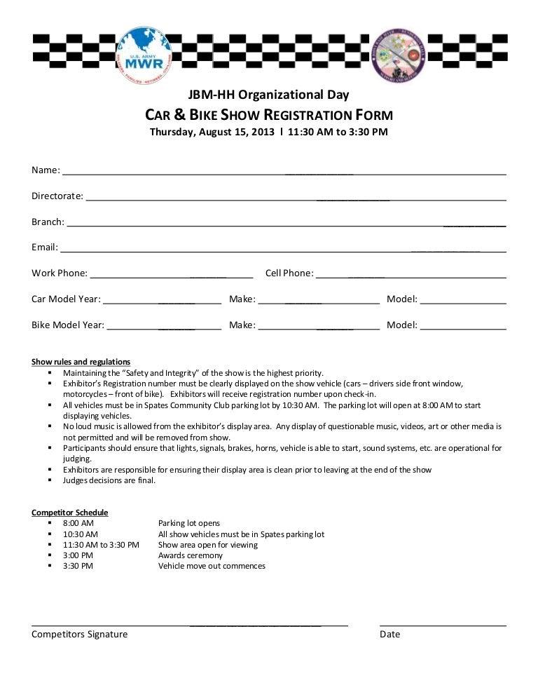 Car bike show registration form