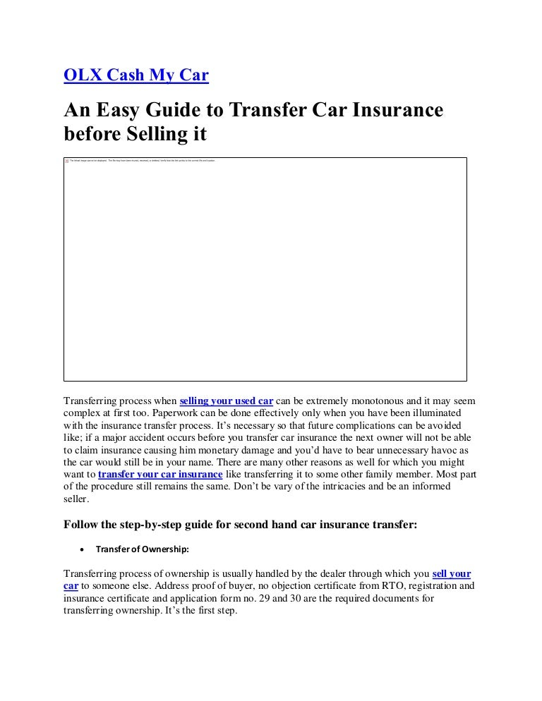 An Easy Guide To Transfer Car Insurance Before Selling It