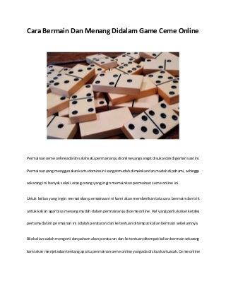 Cara bermain dan menang didalam game ceme online