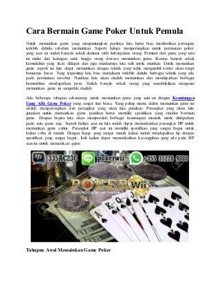 Cara bermain game poker untuk pemula