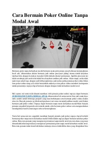 Cara bermain poker online tanpa modal awal