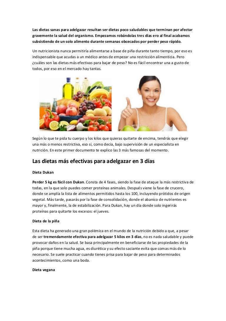 dietas sanas y efectivas para adelgazar