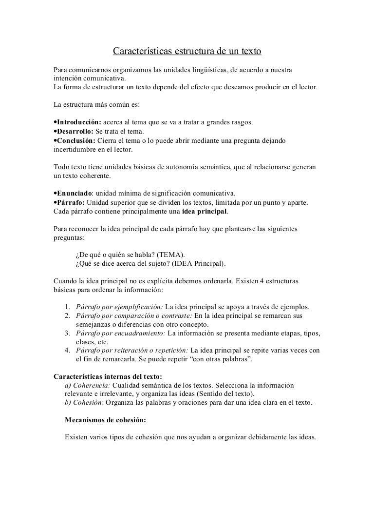 Características Estructura De Un Texto