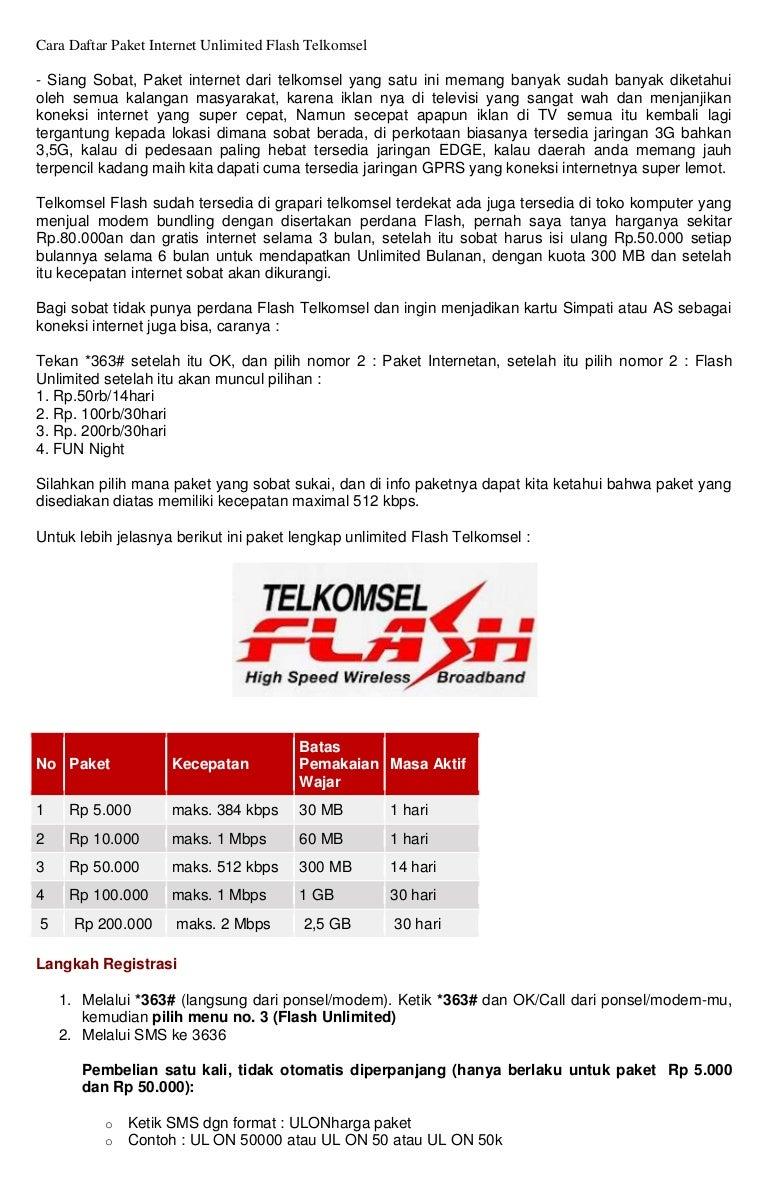 Cara Daftar Paket Internet Unlimited Flash Telkomsel