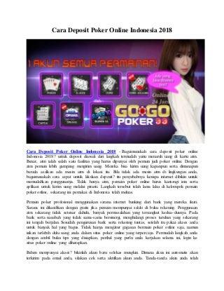 Cara Deposit Poker Online Indonesia 2018 - Gogopoker99