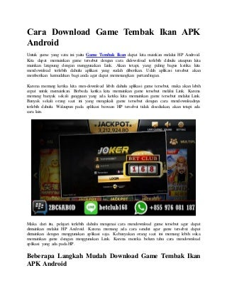 Cara download game tembak ikan apk android