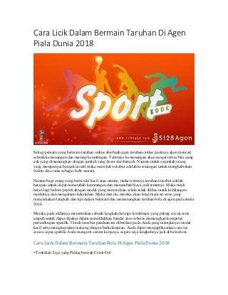 Cara licik dalam bermain taruhan di agen piala dunia 2018