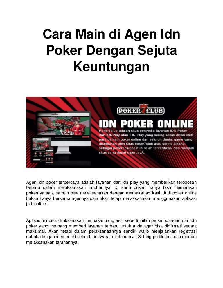 Cara Main Di Agen Idn Poker Dengan Sejuta Keuntungan