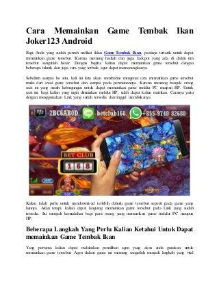 Cara memainkan game tembak ikan joker123 android