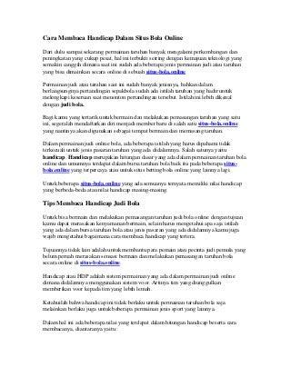 Cara membaca handicap judi bola online dalam situs bola online