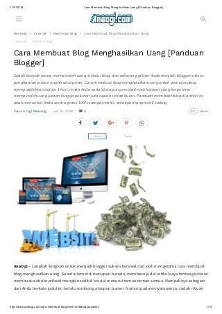 Cara membuat blog menghasilkan uang [panduan blogger]