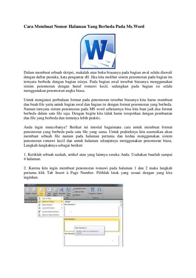 Cara Membuat Nomor Halaman Yang Berbeda Pada Microsoft Office Word