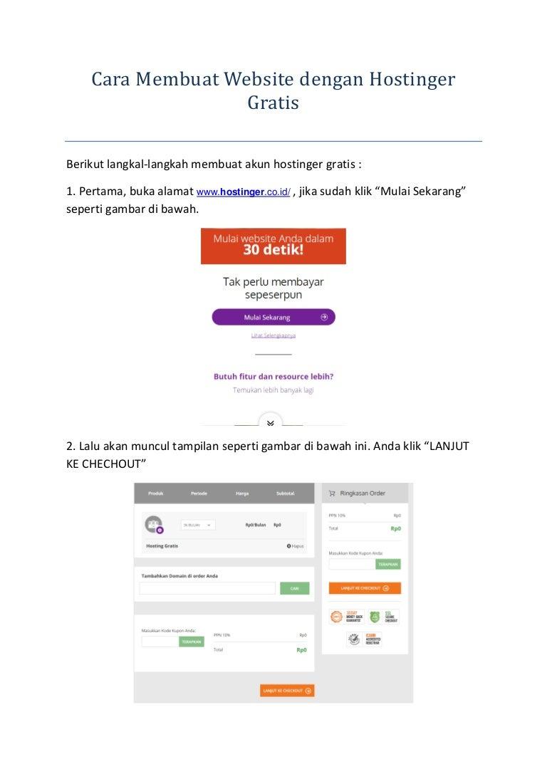 Cara Membuat Website Dengan Hostinger Gratis