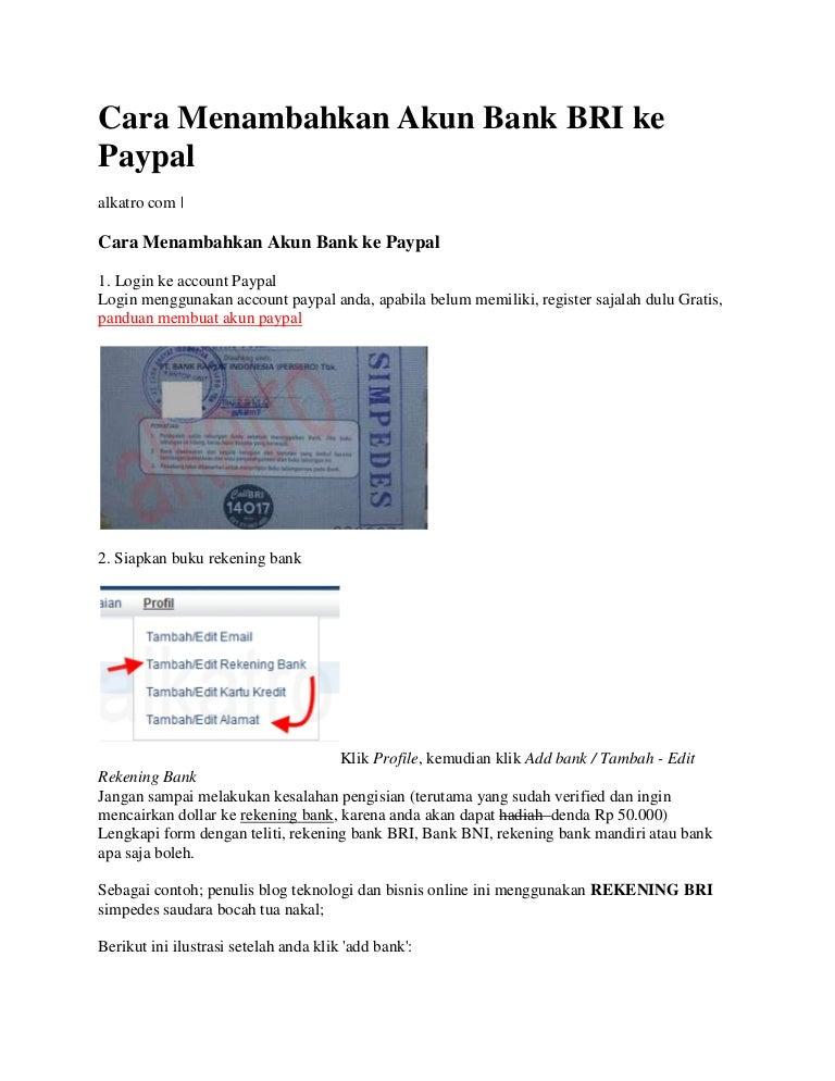 Cara Menambahkan Akun Bank Bri Ke Paypal