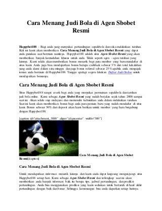 Cara menang judi bola di agen sbobet resmi