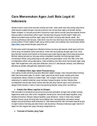 Cara menemukan agen judi bola legal di indonesia