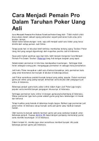 Cara menjadi pemain pro dalam taruhan poker uang asli