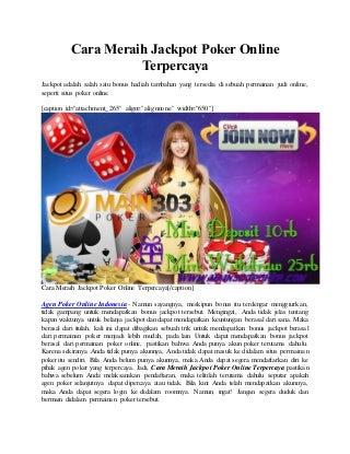 Cara meraih jackpot poker online terpercaya