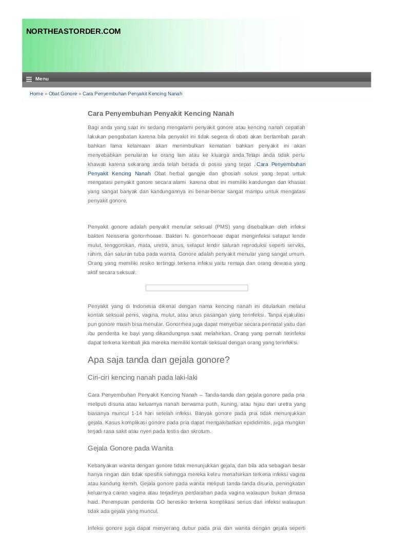 Cara Penyembuhan Penyakit Kencing Nanah Northeastorder Com Obat Spelis