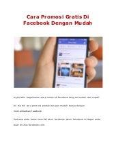 Cara Promosi Gratis Di Facebook