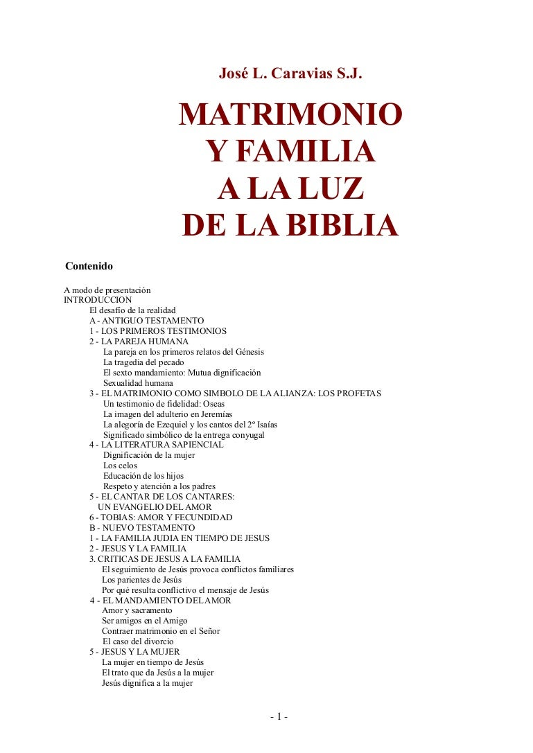 Jose Luis Caravias Matrimonio Y Familia A La Luz De La Biblia