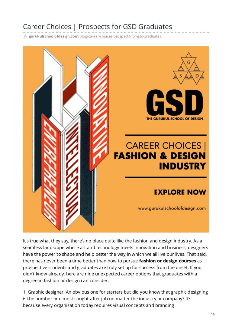 Career Choices Prospects For Gsd Graduates