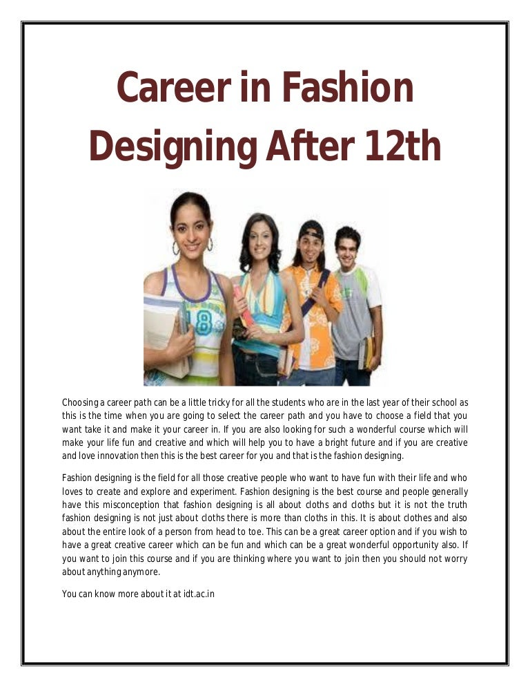 Career In Fashion Designing After 12th