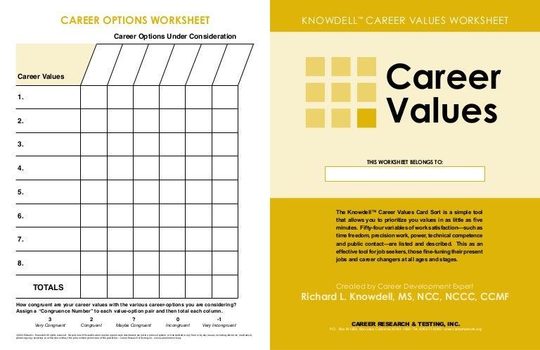 Careers Value Worksheet