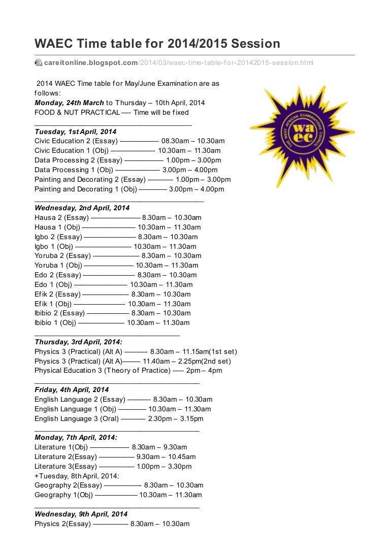 waec time table for ians only