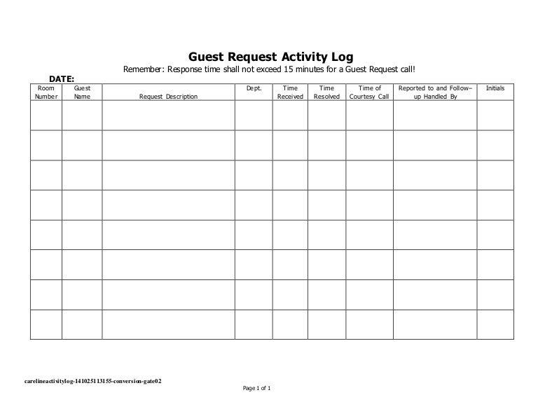Careline activity log