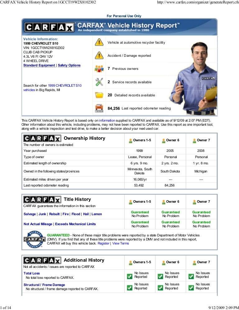 carfax vehicle history repo