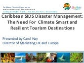 Caribbean sids disaster management: promoting climate smart and resilent tourism destinations carol hay