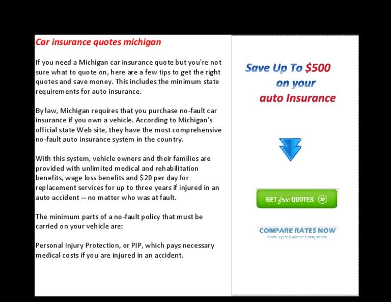 Car Insurance Quotes Michigan Stunning Car Insurance Quotes Michigan