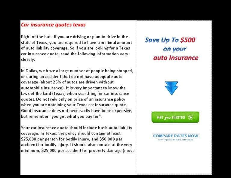 Car insurance quotes texas