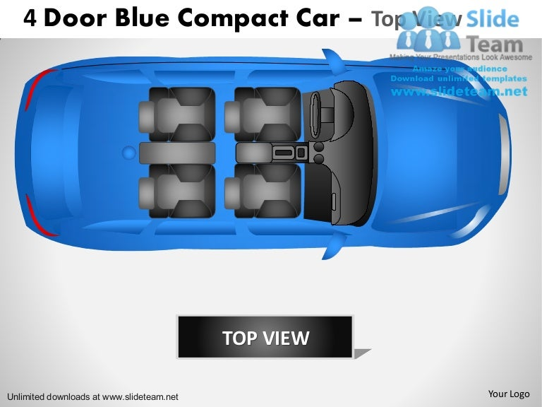 Cars 4 Door Blue Car Top View Power Point Slides And Ppt