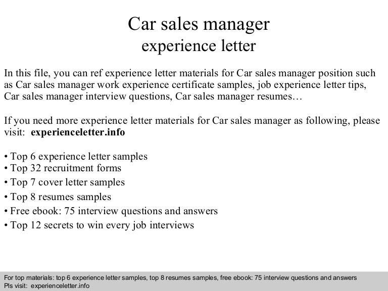 car sales manager resume