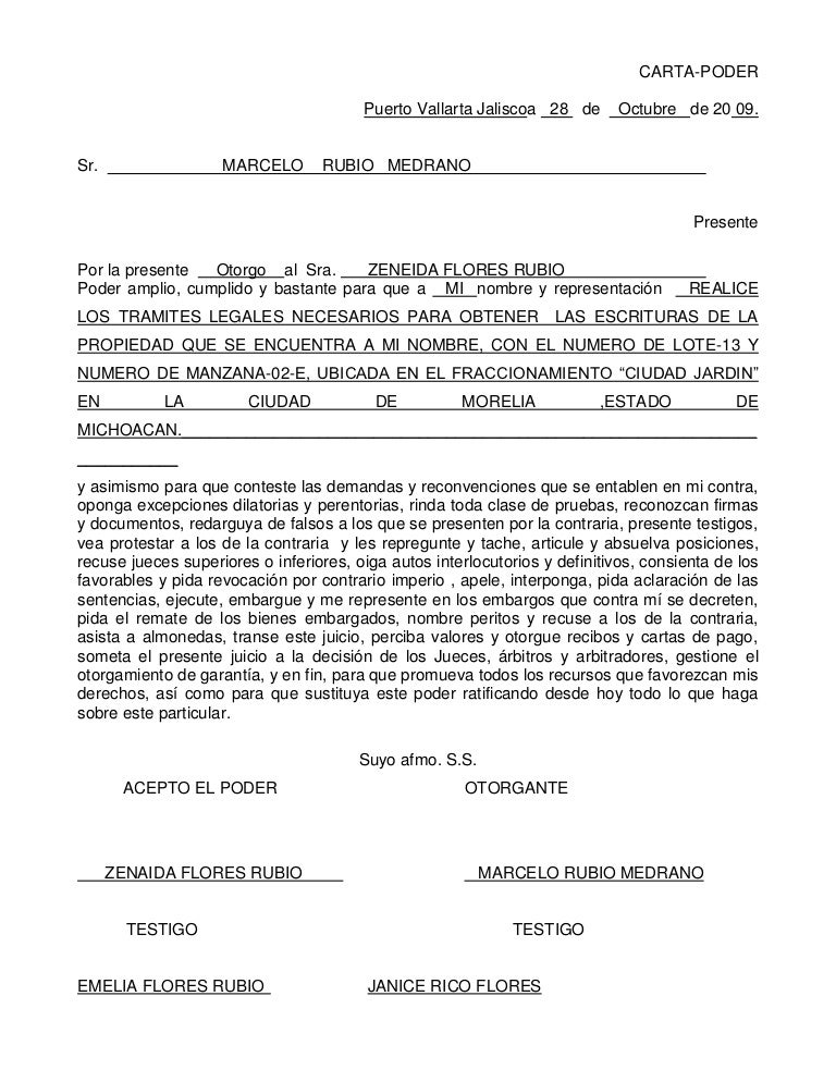 Carta poder - Tramites legales para alquilar un piso ...